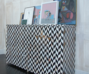 Black & White Marquetry Chest of Drawers