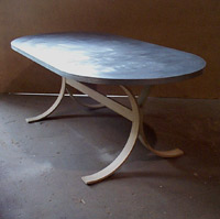 (Indoor/Outdoor) Zinc Oval Table w/ Arched Steel Base